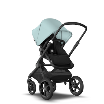 Bugaboo Fox 2 Seat and Bassinet Stroller Vapor blue sun canopy, Black style set, Black chassis