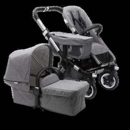 AU - Bugaboo Donkey 2 Mono Seat and bassinet pram- Classic Grey Melange, Aluminium Chassis