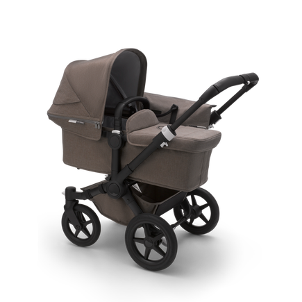 Bugaboo Donkey 3 Mono seat and bassinet stroller mineral taupe melange sun canopy, mineral taupe melange fabrics, black base