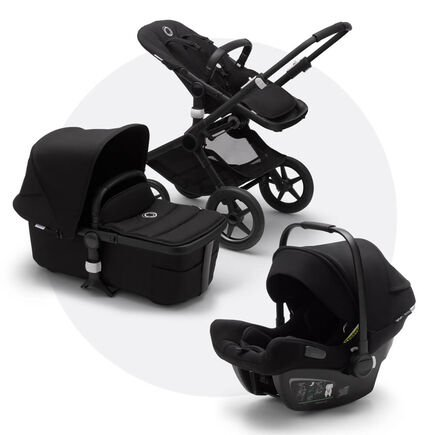 Bugaboo Fox 2 travel system black sun canopy, black fabrics, black base