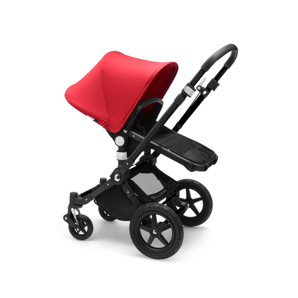 Bugaboo Cameleon 3 Plus seat and bassinet stroller red sun canopy, black fabrics, black base