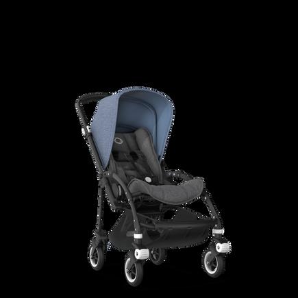 Bugaboo Bee 5 seat pushchair blue melange sun canopy, grey melange fabrics, black base
