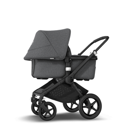 Bugaboo Fox 2 seat and bassinet stroller grey melange, black chassis