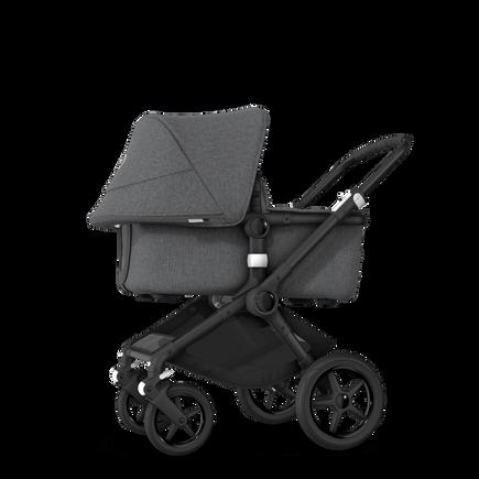Bugaboo Fox 2 seat and bassinet stroller grey melange (nr) sun canopy, grey melange fabrics, black base