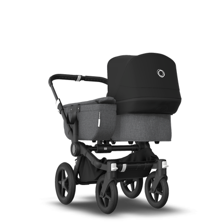 Bugaboo Donkey 3 Mono seat and bassinet stroller black sun canopy, grey melange style set, black base