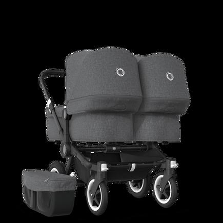 UK Bugaboo Donkey 2 Twin Seat and Bassinet Classic Grey Melange, Black Chassis