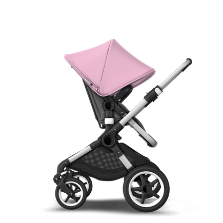 US - Bugaboo Fox stroller bundle aluminum grey melange soft pink