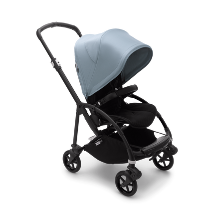 Bugaboo Bee 6 bassinet and seat stroller vapor blue sun canopy, black fabrics, black base