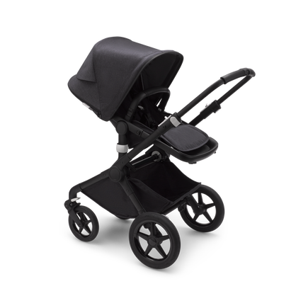 Bugaboo Fox 2 seat and carrycot stroller mineral washed black sun canopy, mineral washed black fabrics, black base