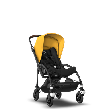 Bugaboo Bee 5 seat stroller sunrise yellow sun canopy, black fabrics, black base