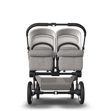 EU Bugaboo Donkey 2 Twin Seat and carrycot Mineral light grey melange, black Chassis