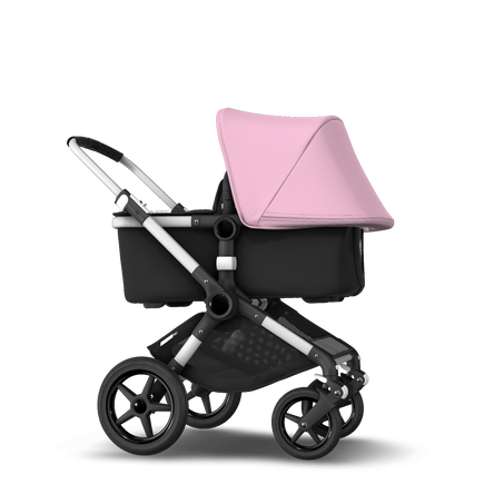 Bugaboo Fox soft pink sun canopy, black fabrics, aluminium chassis