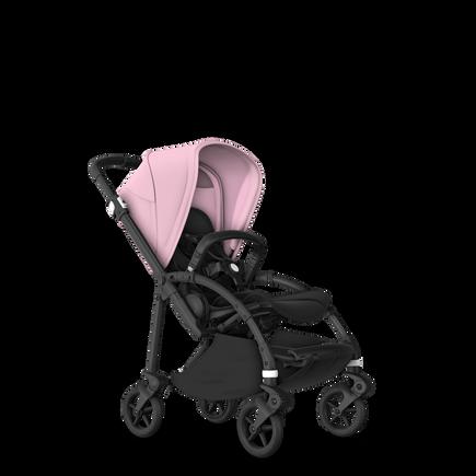 Bugaboo Bee 6 bassinet and seat stroller soft pink sun canopy, black fabrics, black base