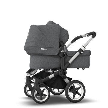 Bugaboo Donkey 3 Duo seat and bassinet stroller grey melange sun canopy, grey melange style set, aluminium base