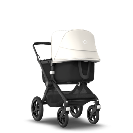 Bugaboo Fox 2 seat and bassinet stroller fresh white sun canopy, black fabrics, black base