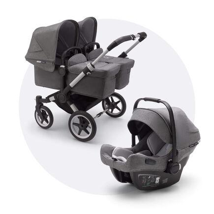 Bugaboo Donkey 3 Twin travel system grey melange sun canopy, grey melange fabrics, aluminium base