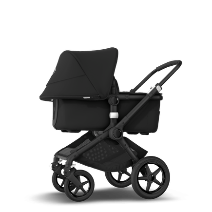Bugaboo Fox 2 seat and bassinet stroller black sun canopy, black fabrics, black base