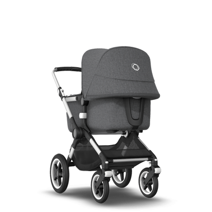 Bugaboo Fox 2 seat and carrycot pushchair grey melange, aluminium chassis
