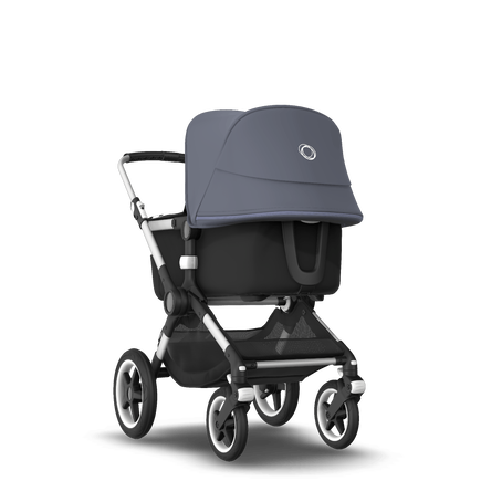 Bugaboo Fox 2 seat and bassinet stroller steel blue sun canopy, black fabrics, aluminium base