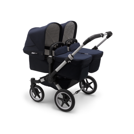 Bugaboo Donkey 3 Twin seat and bassinet stroller classic collection dark navy sun canopy, classic collection dark navy fabrics, aluminium base