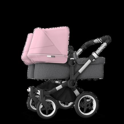 Bugaboo Donkey 3 Twin seat and bassinet stroller soft pink sun canopy, grey melange fabrics, aluminium base