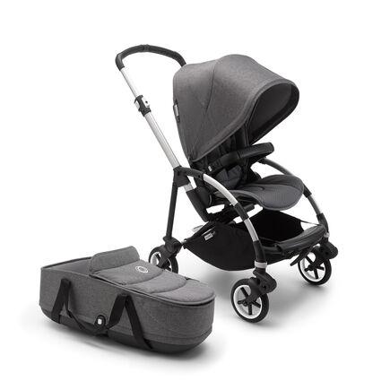 US - B6 bassinet stroller bundle aluminum, grey melange, grey melange