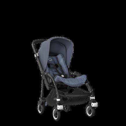 Bugaboo Bee 5 seat stroller steel blue sun canopy, blue melange fabrics, black base
