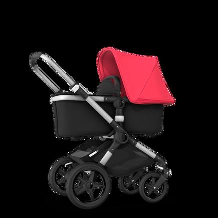 Bugaboo Fox neon red sun canopy, black fabrics, aluminium chassis