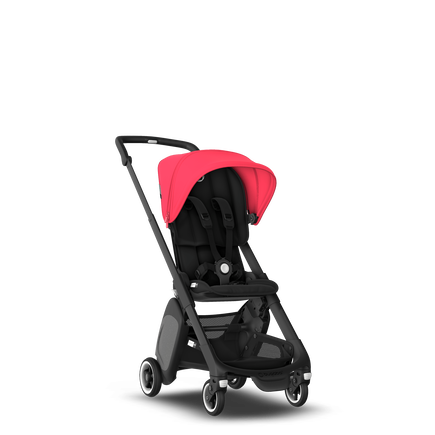 Bugaboo Ant seat stroller neon red sun canopy, black fabrics, black base