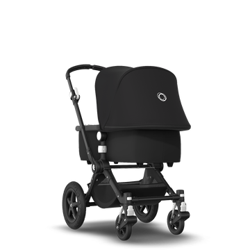 Bugaboo Cameleon 3 Plus bassinet and seat stroller black sun canopy, black fabrics, black base and vapor blueblack winter accessories
