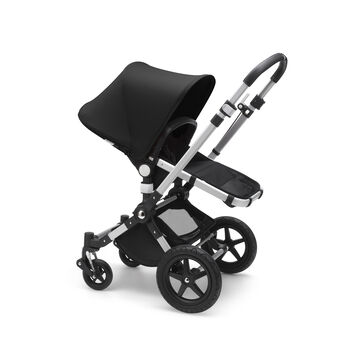 Bugaboo Cameleon 3 Plus seat and bassinet stroller black sun canopy, black fabrics, aluminium base