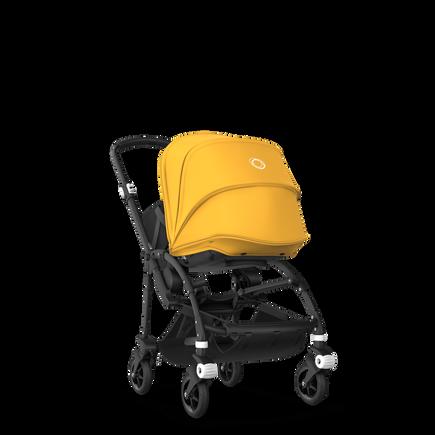 Bugaboo Bee 5 seat and bassinet stroller sunrise yellow sun canopy, black fabrics, black base