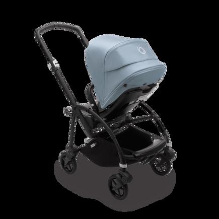 Bugaboo Bee 6 seat stroller vapor blue sun canopy, grey mélange fabrics, black base