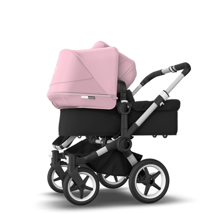 Bugaboo Donkey 3 Duo seat and bassinet stroller soft pink sun canopy, black fabrics, aluminium base