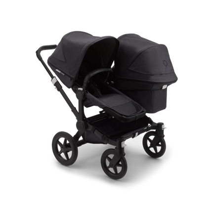 Bugaboo Donkey 3 Duo seat and bassinet stroller mineral washed black sun canopy, mineral washed black fabrics, black base