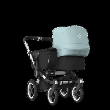 Bugaboo Donkey 3 Mono seat and bassinet stroller vapor blue sun canopy, black fabrics, aluminium base