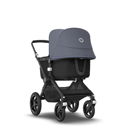 Bugaboo Fox 2 seat and bassinet stroller steel blue sun canopy, black fabrics, black base