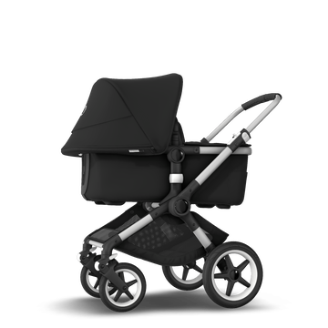 Bugaboo Fox 2 seat and bassinet stroller black sun canopy, black fabrics, aluminium base