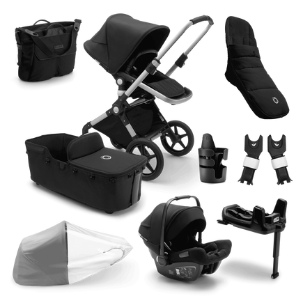 Bugaboo Lynx Ready to go further bundle black sun canopy, black fabrics, aluminium base