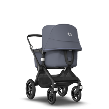 Bugaboo Fox 2 seat and carrycot pushchair steel blue sun canopy, steel blue fabrics, black chassis