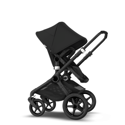 Bugaboo Fox 2 Seat and Bassinet Stroller black sun canopy, black style set, black chassis