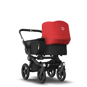 Bugaboo Donkey 3 Mono seat and carrycot pushchair red sun canopy, black style set, black base