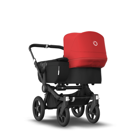 Bugaboo Donkey 3 Mono seat and bassinet stroller red sun canopy, black fabrics, black base