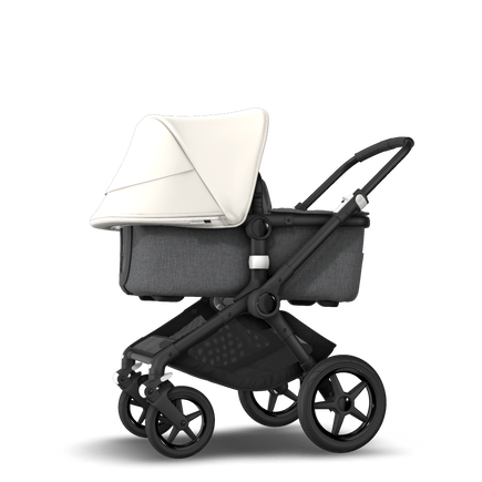 Bugaboo Fox 2 seat and bassinet stroller fresh white sun canopy, grey melange fabrics, black base