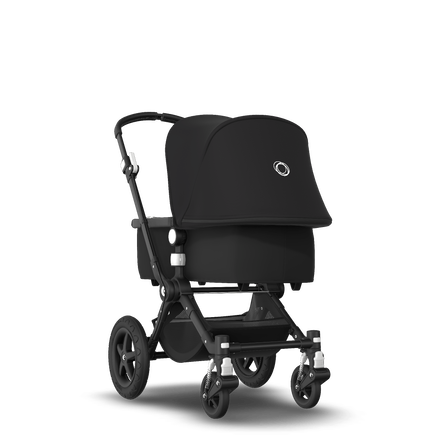 Bugaboo Cameleon 3 Plus bassinet and seat stroller black sun canopy, black fabrics, black base and soft pink summer accessories