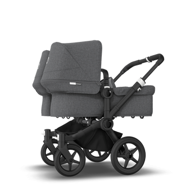 Bugaboo Donkey 3 Twin seat and bassinet stroller grey melange sun canopy, grey melange style set, black base